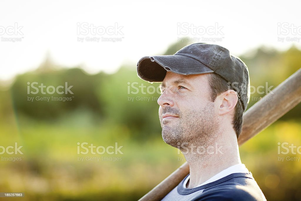 Vintage Baseball Player in Batting Stance, Standing Outdoors stock photo