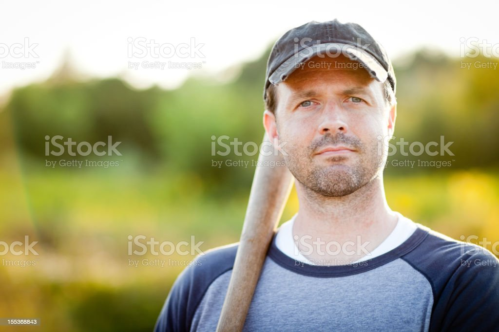 Vintage Baseball Player in Batting Stance,With Outdoor Setting stock photo