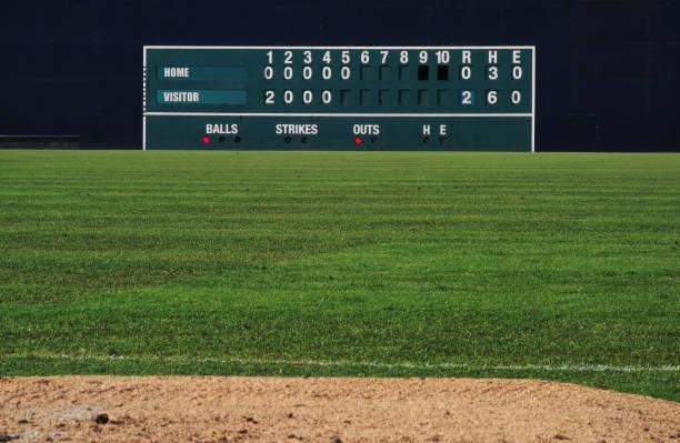 vintage baseball scoreboard - scoring stock photos and pictures