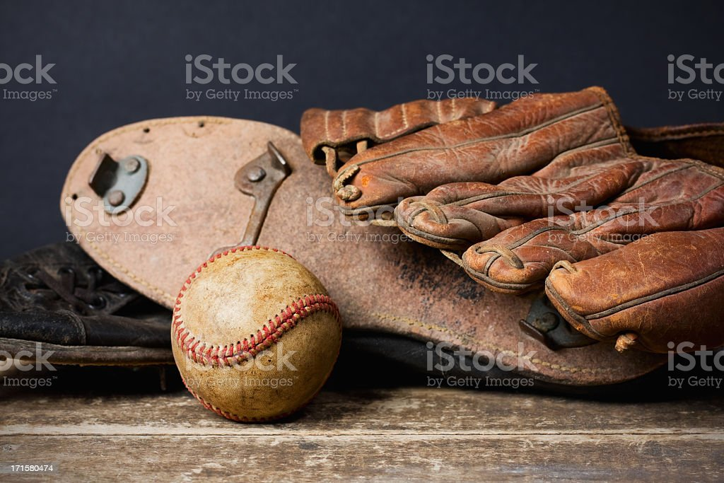 Vintage Baseball with Cleats and Glove stock photo