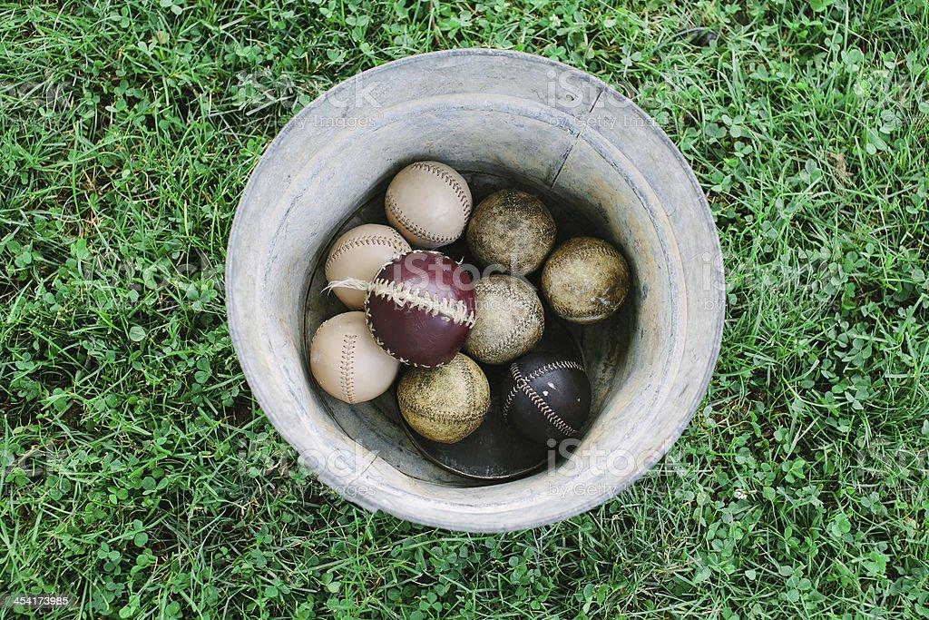Vintage Baseballs In A Metal Bucket Stock Photo & More