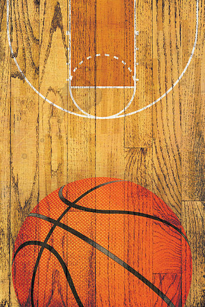 Vintage Basketball Hardwood Floor Background stock photo