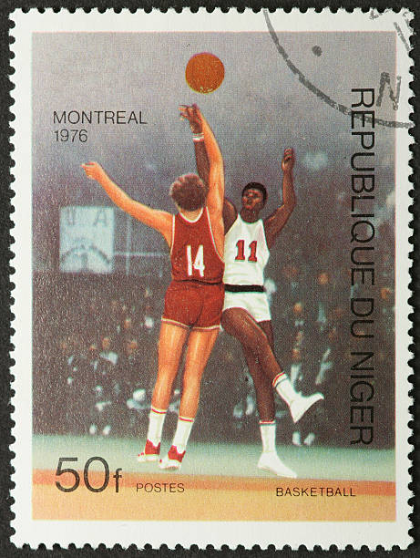 vintage basketball players stock photo