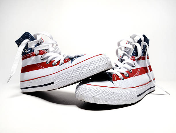 vintage basketball shoes with usa flag vintage basketball shoes with usa flag all star stock pictures, royalty-free photos & images