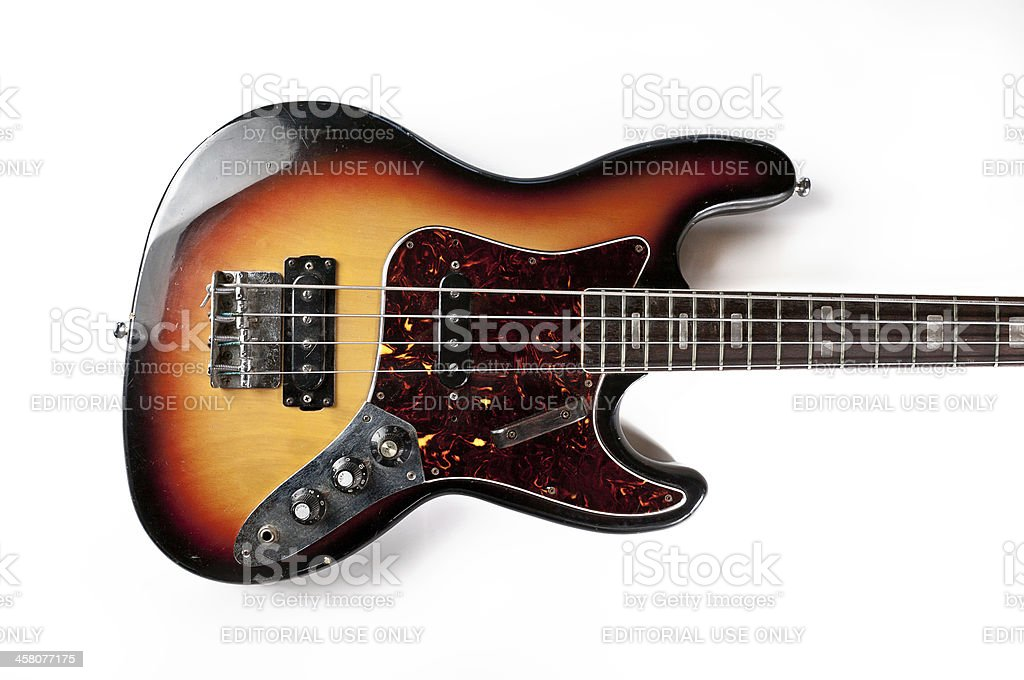 Vintage Bass Guitar stock photo