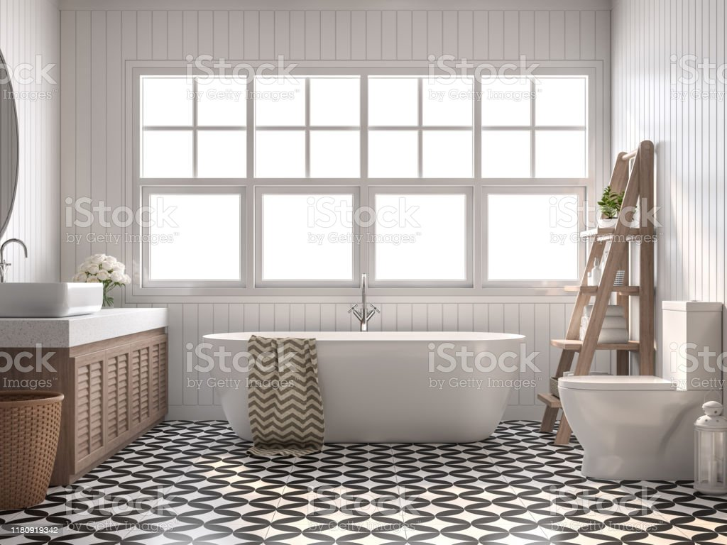 Vintage bathroom 3d render Vintage bathroom 3d render, With white plank walls, black and white pattern floor,Decorate with wooden shelves and cabinet,The rooms have large windows, Natural light shines inside. Apartment Stock Photo