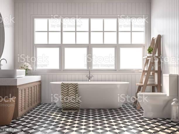 Vintage Bathroom 3d Render Stock Photo - Download Image Now