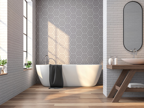 Vintage bathroom white brick and gray tile wall 3d rendering image