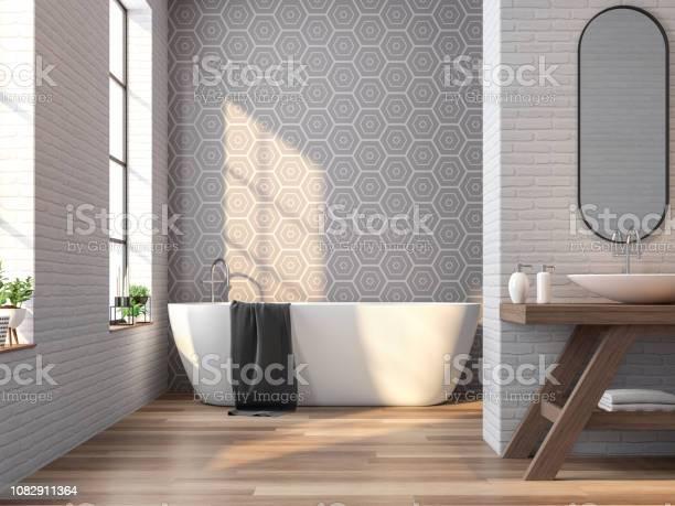Vintage bathroom white brick and gray tile wall 3d rendering image picture id1082911364?b=1&k=6&m=1082911364&s=612x612&h=r3ldebq ozuel3h3y0rpxebammpcd dtovjm7i64rya=