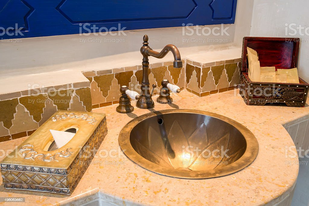 Vintage Bathroom with amenities stock photo