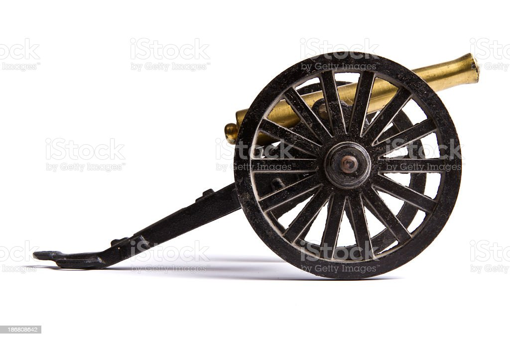 Vintage Battlefield Cannon - side view stock photo
