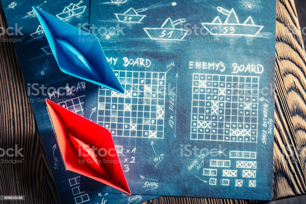 Vintage battleship paper game as a battle concept stock photo