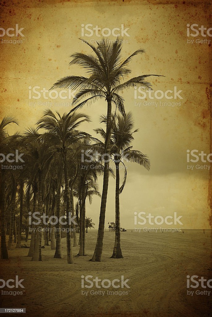 vintage beach scene royalty-free stock photo