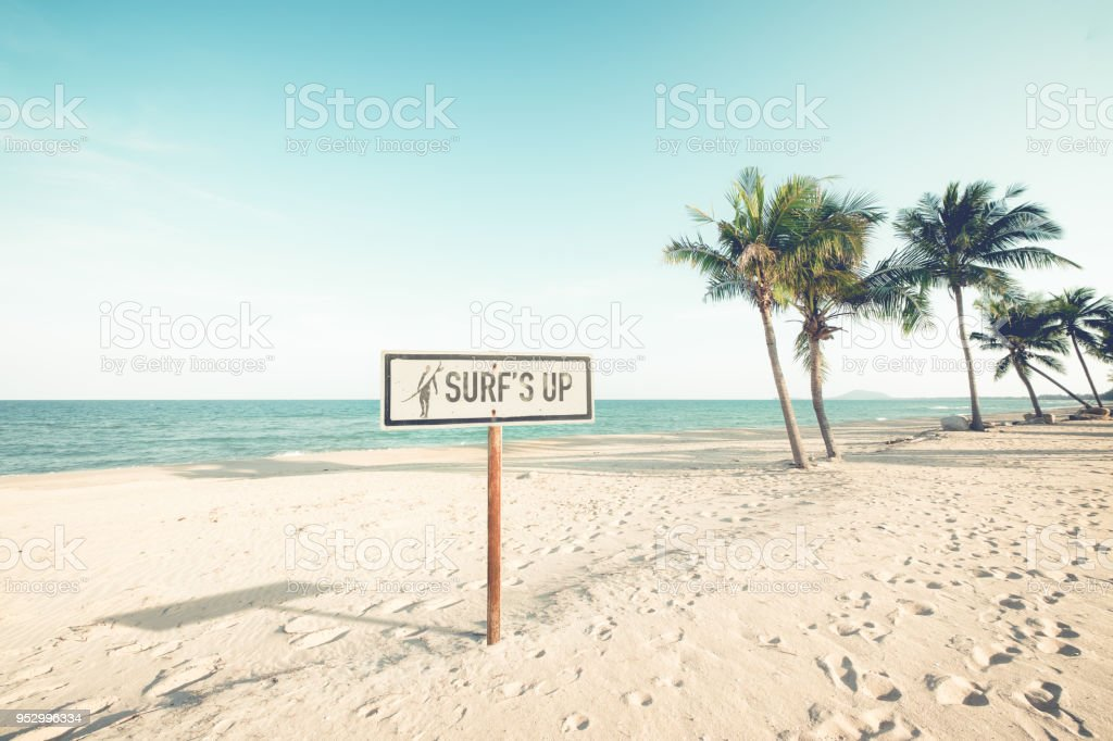 Vintage Beach Sign With Surf Stock Photo Download Image Now Istock