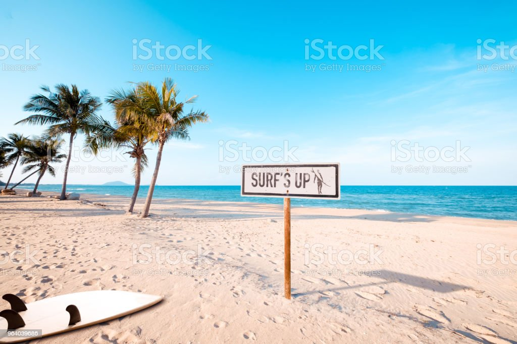 Vintage beach sign with surf - Royalty-free Antique Stock Photo