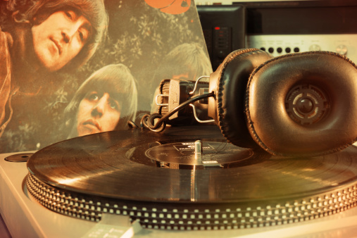 NAPLES,ITALY- DECEMBER 11, 2013:Rubber Soul is an album by the Beatles del1965, when they were at the peak of popularity. It is the first Beatles album to not contain the name of the group on the cover.