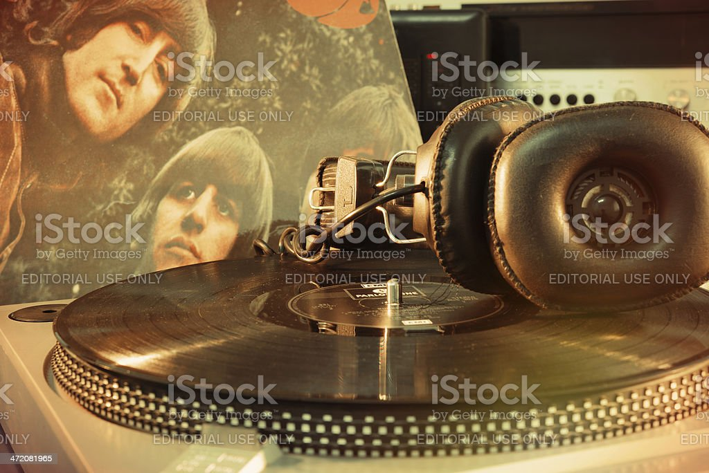 Vintage Beatles album stock photo