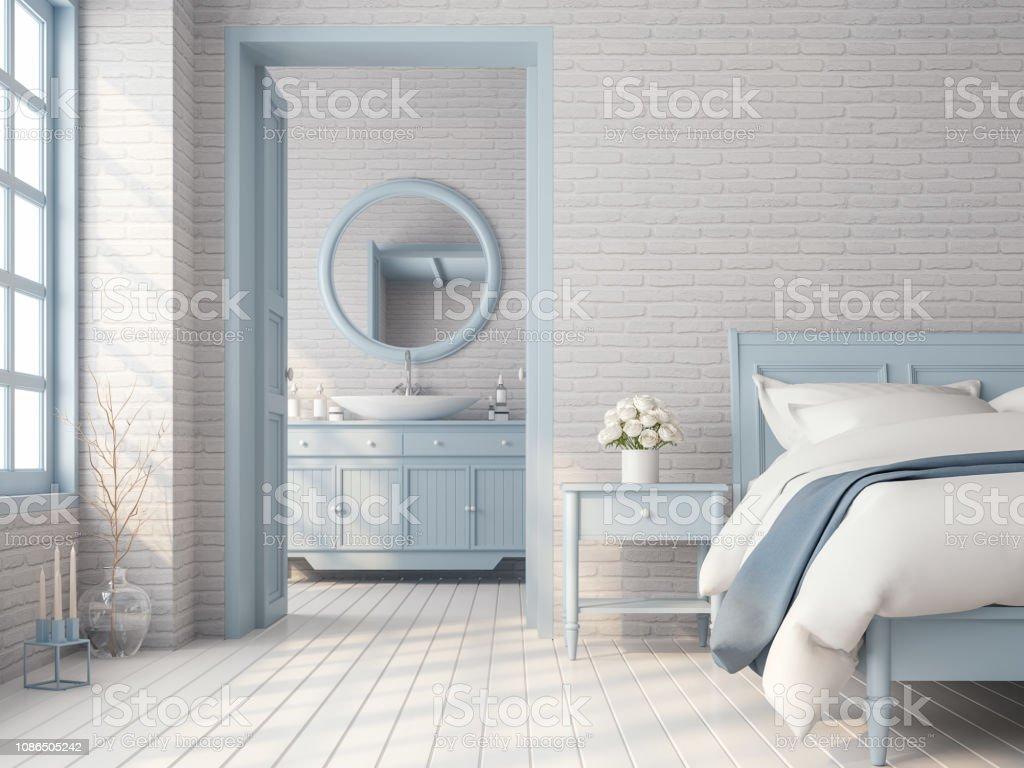Vintage Schlafzimmer Und Badezimmer Mit Blau Pastell Farbe ...