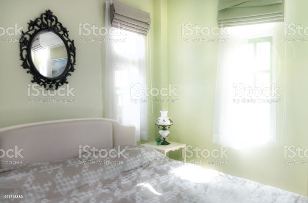 Vintage Bedroom Interior With Decorative Table Lamp And Mirror ...