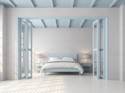 Vintage Bedroom With Blue And White Pastel Color 3d Render ...