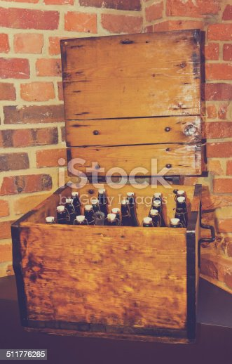Pastel image of a vintage beer box with a old bottles.