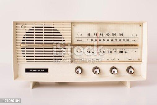 istock Vintage Beige FM/AM Radio, With White Background 171269194