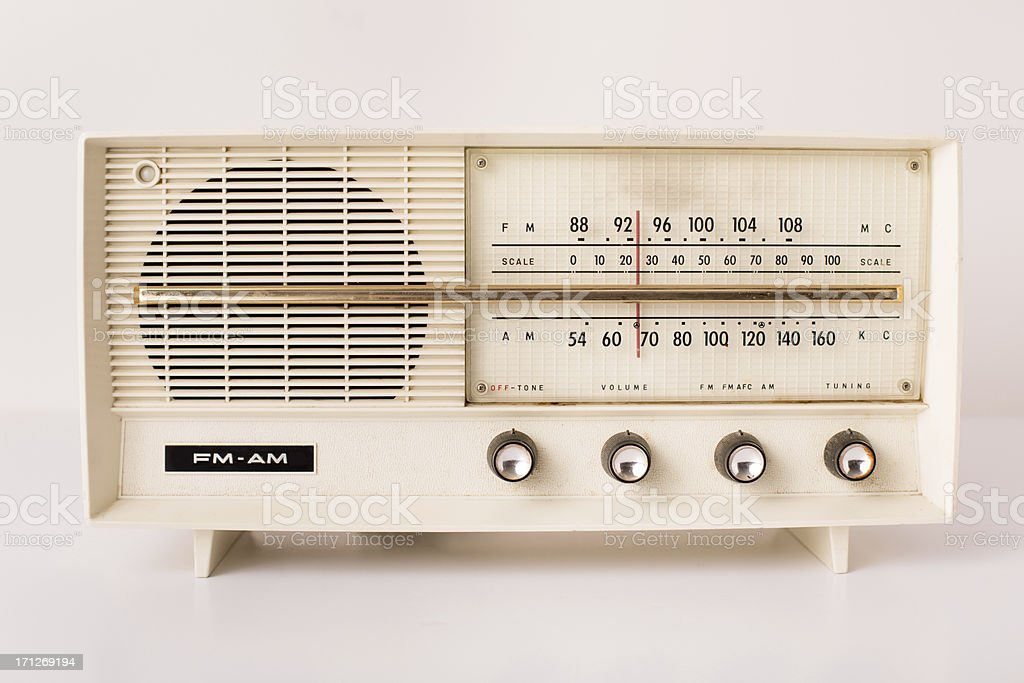 Vintage Beige FM/AM Radio, With White Background stock photo
