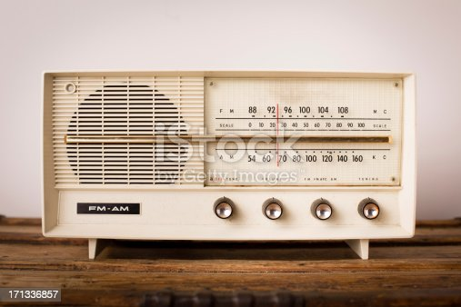 istock Vintage Beige Radio Sitting on Wood Table 171336857