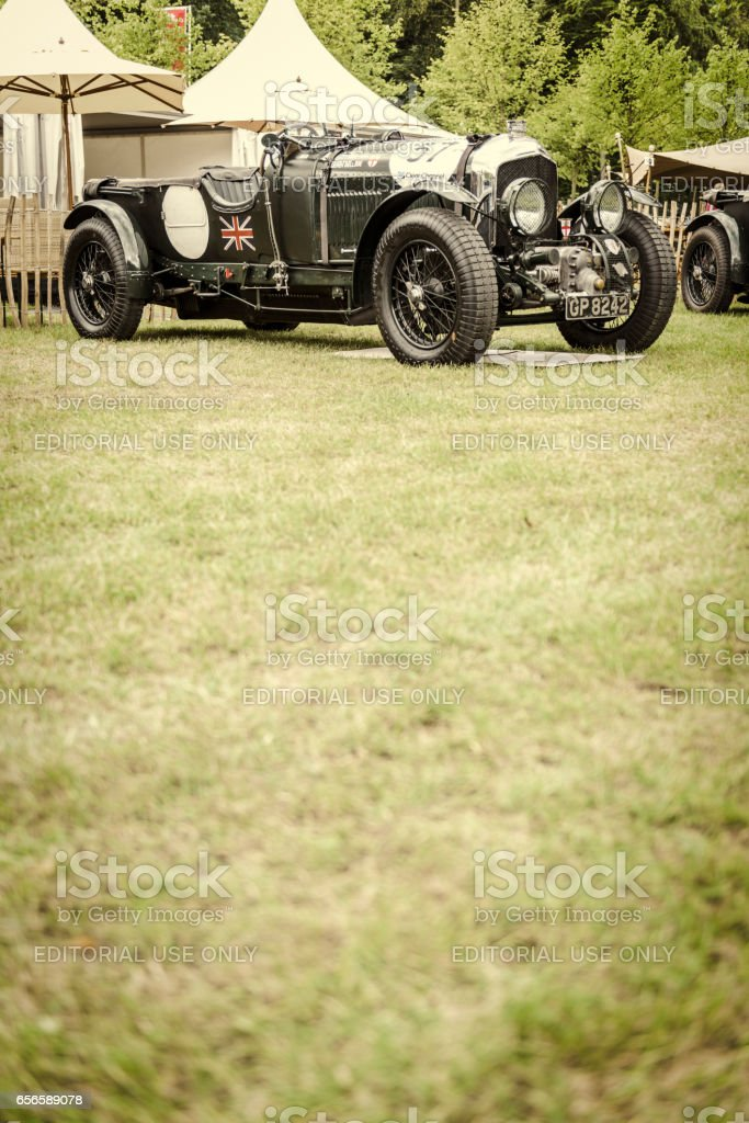 Vintage Bentley 4 1/2 Litre English classic car in British racing green stock photo