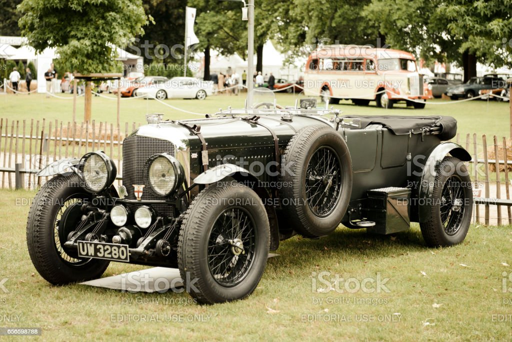 Vintage Bentley 6 1/2 Litre English classic car in British racing green -  Stock image .