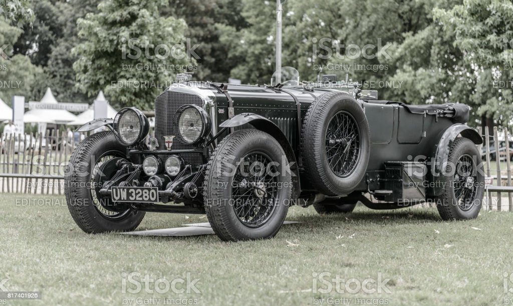 Vintage Bentley 6 1/2 Litre English classic car in British racing green stock photo