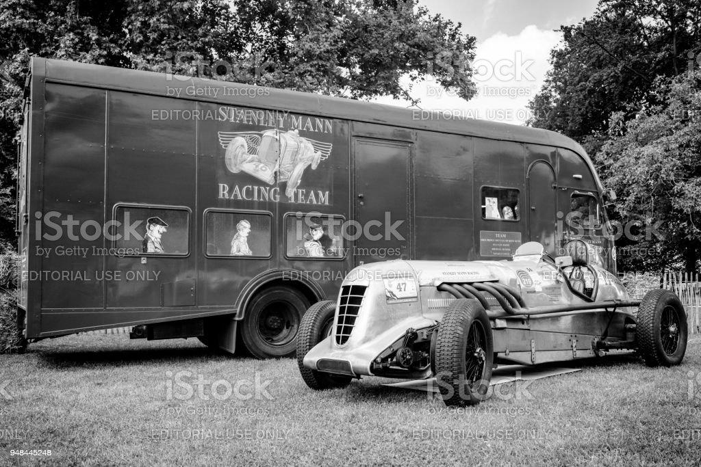 Vintage Bentley 6.5-Litre Old mother gun  Le Mans race car stock photo