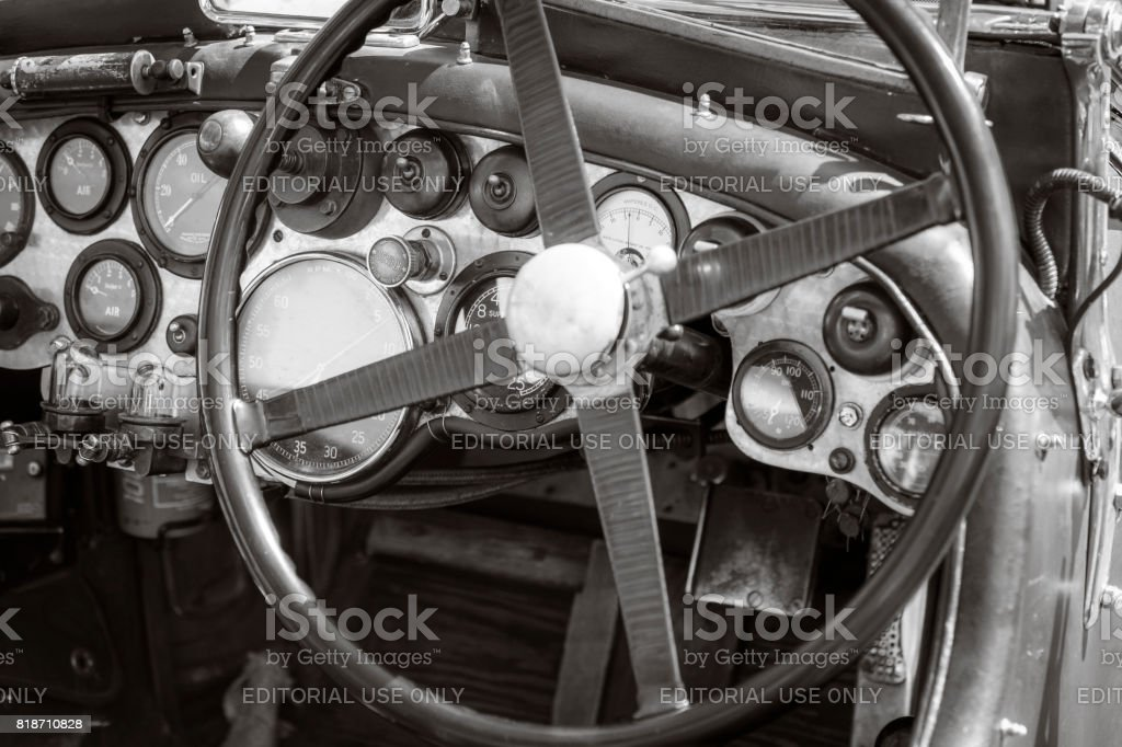 Vintage Bentley classic car dashboard stock photo