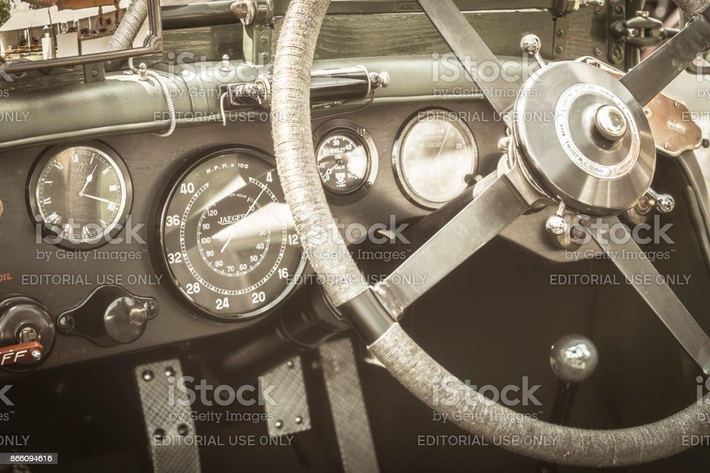 Vintage Bentley classic car dashboard stock photo