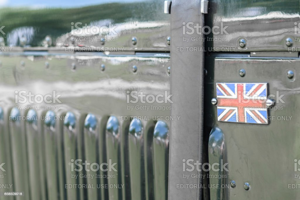 Vintage Bentley classic car detail with the Union Jack stock photo
