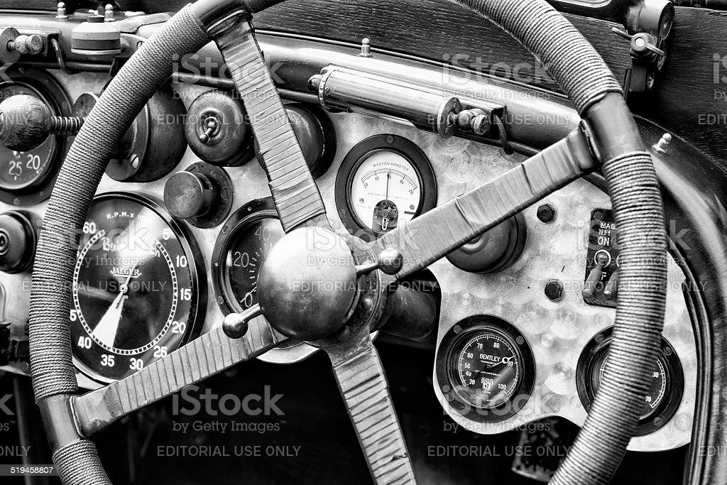 Vintage Bentley race car dashboard stock photo