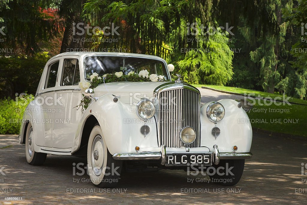 Vintage Bentley Wedding Car Decorated With Flowers in a Park stock photo