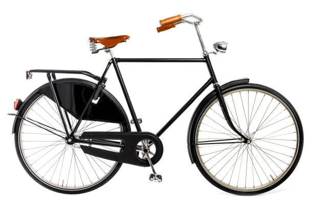 Vintage Bicycle in black and brown details isolated on a white background