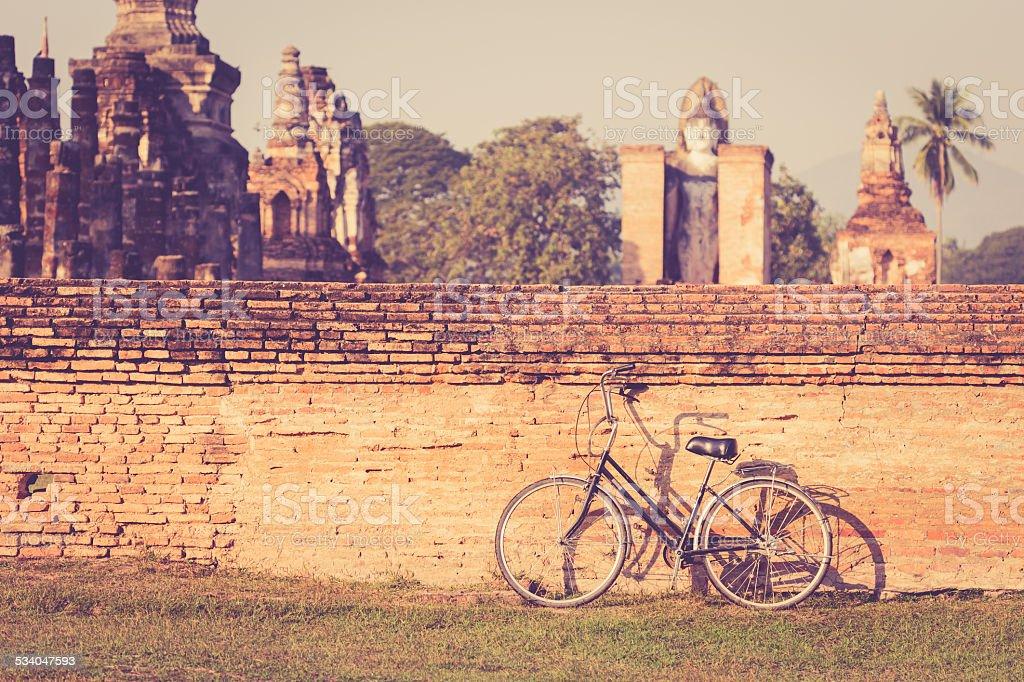 Vintage bicycle in Sukhothai Historical Park, Thailand stock photo