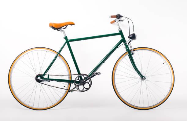 bicicleta vintage sobre fondo blanco - bastidor de la bicicleta fotografías e imágenes de stock