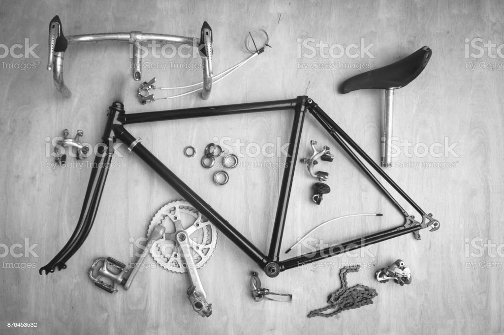 Vintage bicycle parts stock photo