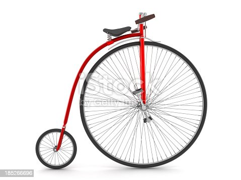 Vintage red bicycle isolated on white.