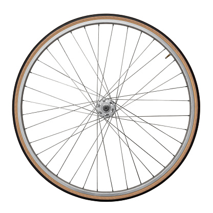 Front wheel of a vintage bicycle, isolated on white. Clipping path included (inner edges).