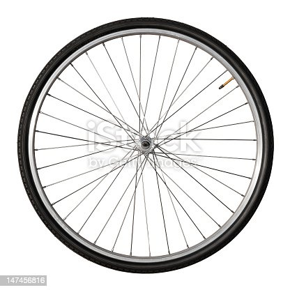 Front wheel of a vintage bicycle, isolated on white. Clipping path included (inner edges)