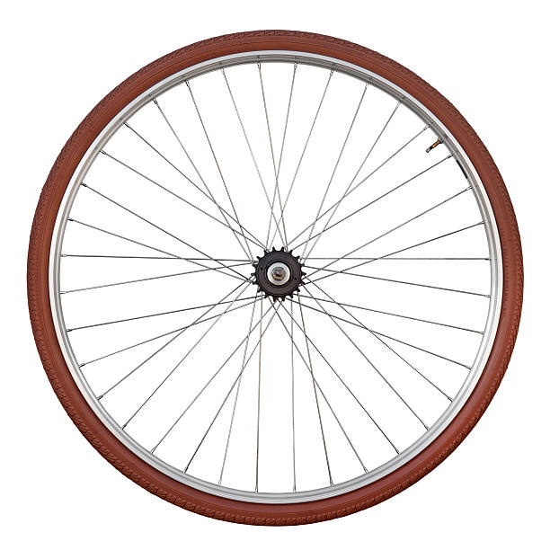 Vintage Bicycle Wheel Isolated On White stock photo