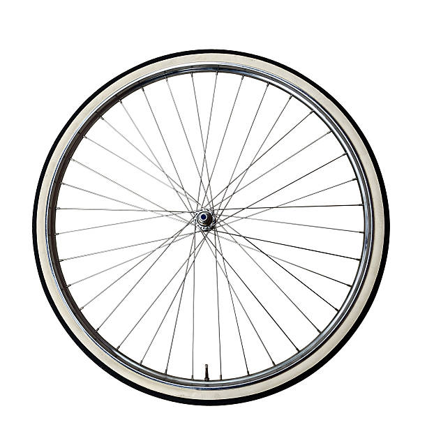Vintage bicycle Wheel Old wheel of a bicycle with vintage tire black and white. Clipping path included wheel stock pictures, royalty-free photos & images
