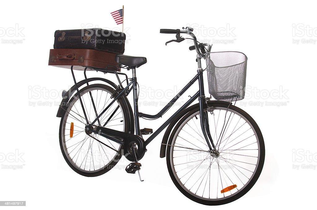 Vintage Bicicletta Con Le Valigie E Americana Bandiera Isolato Su
