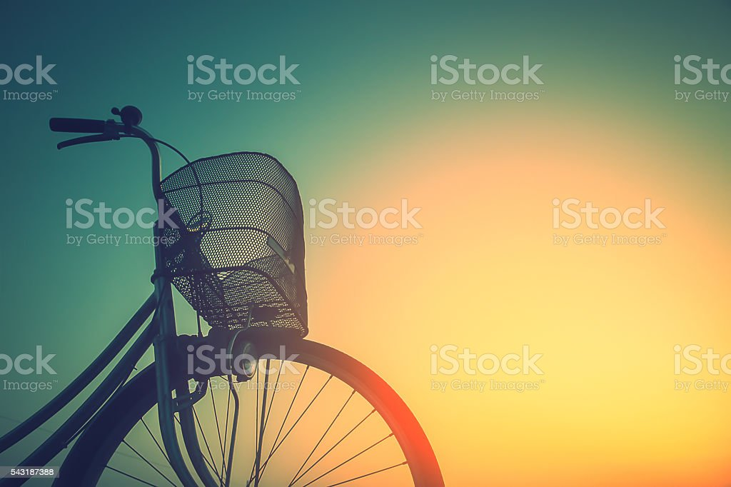 Vintage bike trails in summer tones style.classic vintage style stock photo