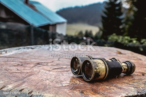 istock Vintage binoculars on wooden background 1041212010