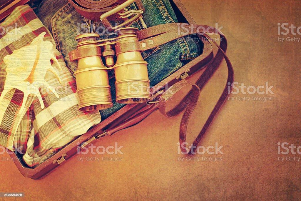 Vintage binoculars. Travel concept. photo libre de droits